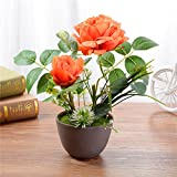 URIJK Künstliche Blumen Töpfe 2 Rosen Pflanzen DIY Topfblumen Kunstpflanze