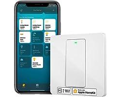 Interrupteur Va et Vient WiFi (FIL NEUTRE REQUIS), Interrupteur à 2 Voies Intelligent Compatible avec Apple HomeKit, Siri, Al