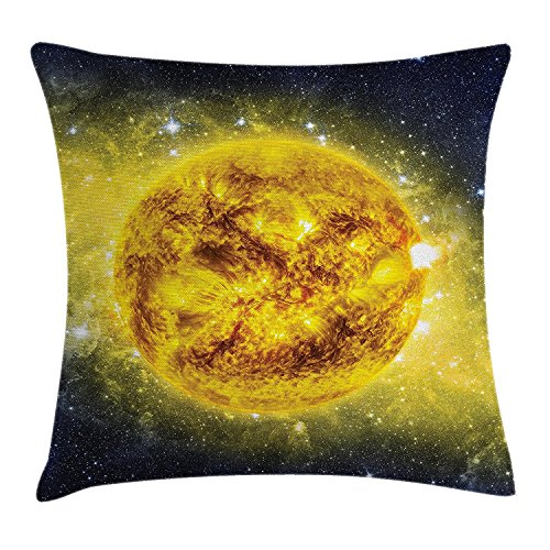 Galaxy Throw Pillow Cushion Cover, Panorama of Sun in Space with Luminous Effects Dynamic Center of Solar System Print, Decorative Square Accent Pillow Case, 18 X 18 Inches, Yellow Blue (Center Solar)