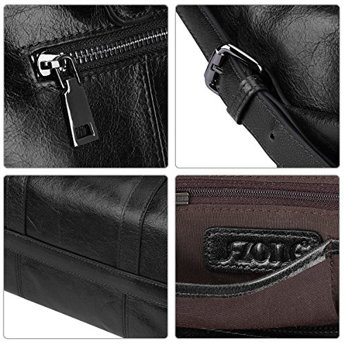 S-ZONE 3-Way delle donne delle signore della mucca Split Leather Shoulder Bags Borsa Borsa Nero