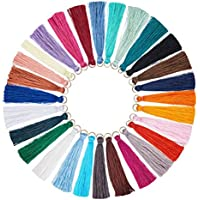 NBEADS 28 unidades de borlas de colores mezclados con borlas hechas a mano sedosas de borla suave para bricolaje manualidades proyectos de decoración