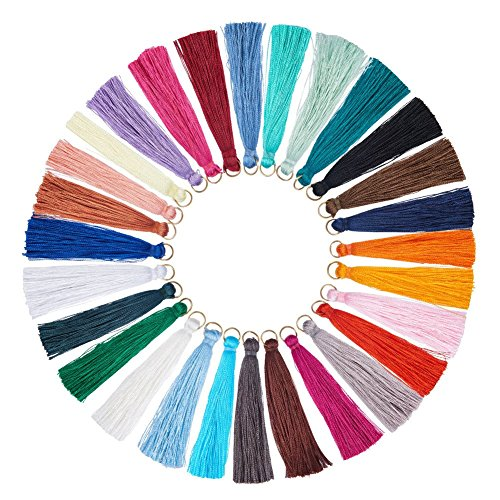 nbeads 28 Stücke Mischfarben Mini Quasten mit Schleife Handgemachte Seidige Quasten Weiche Quaste für DIY Handwerk Projekte Dekoration