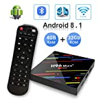 OKEU Android 8.1 TV Box, H96 Max Plus 4 GB DDR3 32 GB ROM, RK3328 Quad-Core-64-Bit-Cortex-A53 Processor, 2.4 G WiFi...