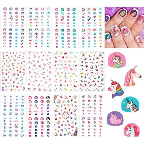 12 Blätter Einhorn 3D Nagel Kunst Sticker Selbstklebende Nagel Kunst Decals Nagelspitze Aufkleber...