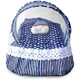 HomeStore-YEP Cotton Bedding Set With Foldable Mattress, Mosquito Net & Pillow Mosquito Net(Style - Joker, Color -Blue)