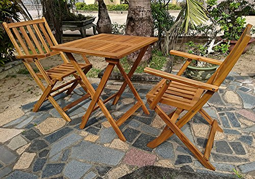 XXS® 3-teilige Garten-Gruppe, Balkon-Möbel aus Akazien-Holz, Balkon-Gruppe bestehend aus 1 x Tisch + 2 x Klappstuhl mit Armlehnen, Sitzgruppe geölt, massives Holz, Garten-Tischgruppe klappbar [521391]