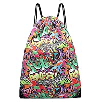 Kono Drawstring Backpack Canvas Non-Waterproof School Swim Gym PE Rucksack Outdoor Sports Butterfly Flower Cartoon Cat Horse Shoulder Bags (Graffiti)
