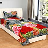 #2: Gharshingar 160TC Polycotton Floral Grey Single Bedsheet with Pillow Cover