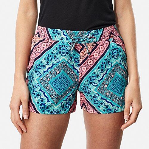 O'Neill Damen Print Beach Holiday Shorts Streetwear, Green AOP W/Pink Or Purple, L -