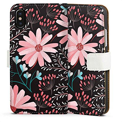 Apple iPhone 4s Silikon Hülle Case Schutzhülle Blumen Herbst Muster Sideflip Tasche weiß