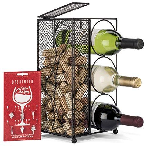 brentmoor-3Bottiglia di vino-vino rack/supporto di sughero, Nero-Completo