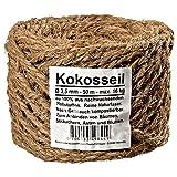 Ø 3.5 mm corde en noix de coco fil en noix de coco attache arbre ficelle de jardinage ruban de jardin en fibres de noix de coco 100% en fibres naturelles (Ø 3.5 mm - 50 m - capacité de charge max. 16 kg)