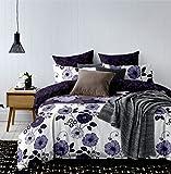 135x200 Bettwäsche mit 1 Kissenbezug 80x80 Blumenmuster Blumen Bettbezüge Microfaser Bettwäschegarnituren Hypnosis Alcea violett weiß