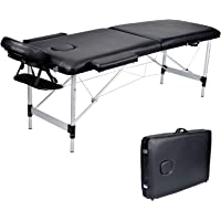 Wellhome 2 Zones Aluminium pliante Table de Massage léger thérapie Tatoo Salon Reiki Sports stadium Clinic appuie-tête réglables + balustrade + 600D housse de transpo(Noir)