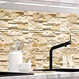 StickerProfis Küchenrückwand selbstklebend Pro STEINWAND Ashlar 60 x 400cm DIY - Do It Yourself PVC Spritzschutz