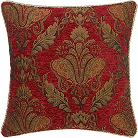 RED GOLD FLORAL CHENILLE TAPESTRY 18