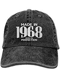 fboylovefor Aged To Perfection 1968 50th Birthday Hipster Unisex Denim Jeans Adjustable Baseball Hat Hip-Hop Cap Gift For Men Women