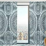 Mnsruu Rideaux Voilage Fenêtre Ethnique Boho Motifs Souple Tulle Voilage pour Salon Chambre 140 x 213 cm 2 Panneaux