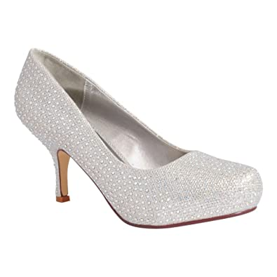 Ladies Womens Silver Glitter Diamante Bridesmaids Bridal Court ...