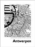 Poster 90 x 120 cm: Stadtplan von Antwerpen von 44spaces -
