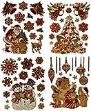 Unbekannt 2 Set: XL Fensterbilder Weihnachten - Weihnachtsmann / Geschenke / Rentier / Schneeflocken - Sticker Fenstersticker Aufkleber Selbstklebend & statisch haftend Wiederverwendbar