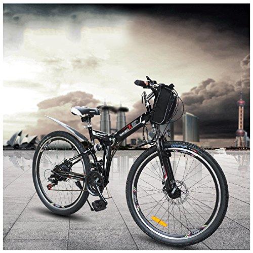 """GTYW Électrique Vélo Pliant Vélo De Montagne Cyclomoteur Électrique Mâle 350 W 48 V * 26 """"Double Suspension Bobon Bahrain Batterie Unité Double Freinage,Black-48V12.8ah"""