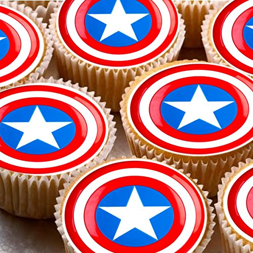 24-Cake-Toppers-4cm-On-Icing-Captain-America-Shield-Avengers