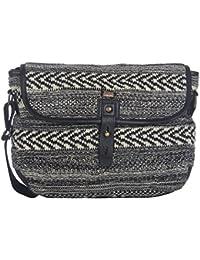Pluchi Cindy Messenger Bag Black With Black Leather   Canvas Cotton Shoulder  Bag Hand Bag For Women… a6e34f1e9ee17