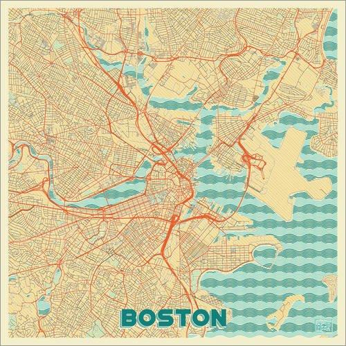 Posterlounge Acrylglasbild 120 x 120 cm: Boston Karte Retro von Hubert Roguski - Wandbild, Acryl Glasbild, Druck auf Acryl Glas Bild