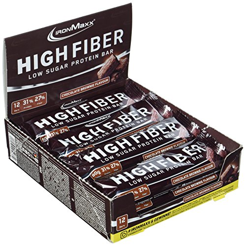 IronMaxx High Fiber Riegel, Proteinriegel mit 31% Eiweiß, 27% Ballaststoffen und nur 2,7g Zucker pro Riegel, Für Zunahme & Erhalt der Muskelmasse in der Diätphase, 1x720g, Chocolate Brownie Flavour (Schokolade Fett Brownie Ohne)