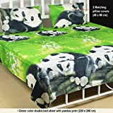 Milap Green Panda Double Bed Sheet