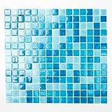 123mosaikfliesen Mosaikfliesen Fliesen Mosaik Küche Bad WC Wohnbereich Fliesenspiegel Quadrat Pool Glas blau hellblau mix 4mm Neu #K666
