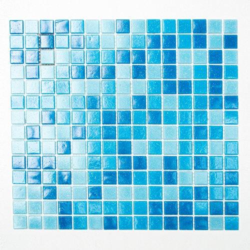 Fliesen Mosaik Mosaikfliese Quadrat Bad Glas weiß blau dunkelblau 4mm Neu #K657 -