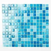 123mosaikfliesen Mosaikfliesen azulejos Mosaik cocina baño WC sala de estar Fliesenspiegel Quadrat Pool vidrio azul azul claro Mix 4 mm nuevo #K666