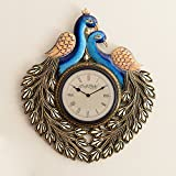 [Sponsored]eCraftIndia Decorative Twin Peacocks Antique Handcrafted Wood Wall Clock (50 Cm X 2.5 Cm X 55 Cm)