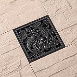 Persönlichkeits-schwarzer alter Karpfen verdickte kupfernes Deodorant-Boden-Abfluss-Badezimmer, Balkon, Boden-Abwasserkanal mit entfernbarem Filter Anti-Clogging