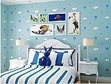 Yosot Kinderzimmer Vliestapeten Schöne Weiße Wolke Heißluftballon Junge Mädchen Schlafzimmer Tapete Blau