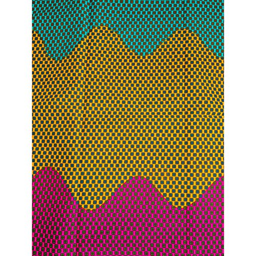 hollantex ghanaische Stoff Echtwachs rot grün gelb Wave quadratische 6Meter htw70205