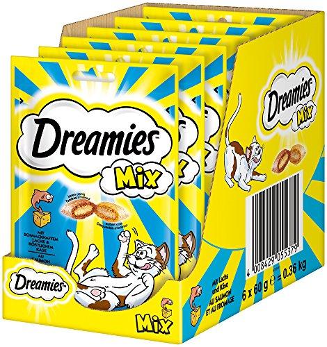 Dreamies Katzensnack Mix mit Lachs & Käse, 6er Pack (6 x 60g)