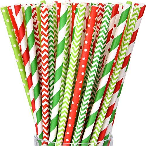 Hestya Trinkhalme, weihnachtlich, biologisch abbaubar, Grün und Rot gestreift, Zickzackmuster, Papier-Strohhalm, für Urlaub, Weihnachten, Party, 200 Stück Christmas Party Color