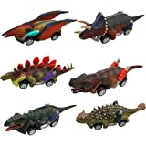 Coche de Juguete de Dinosaurios, Comius Sharp Juguetes Pack de 6 Vehículos Dinosaurios Juguetes, Dinosaurio Pull Back Coches,