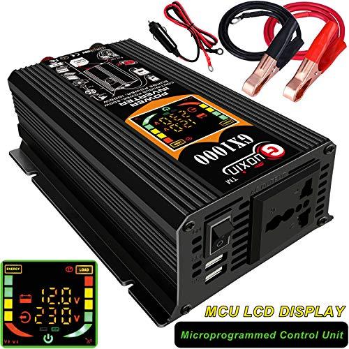 GUOXIN Power Inverter 12V 220V 1000W Inverter Auto Invertitore di Potenza Trasformatore di Potenza Convertitore DC 12V in AC 220V 230V 240V Schermo LCD Display USB Caricatore