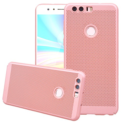 Huawei Honor 8 Hülle, Dexnor Huawei Honor 8 Hülle Rose Gold Matt Handyhülle Ultra Slim Honeycomb Hardcase Dünne PC Hard Schutz Rückseite Protective Bumper Backcover Tasche
