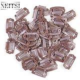 Neitsi® - Juego de 50 clips para extensiones de pelo, de metal, con forma de I y de U