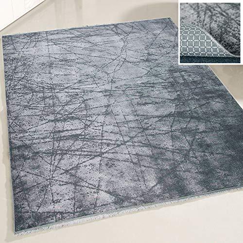 mynes Home Teppich waschbar Wohnzimmerteppich Küche Flur Kinderzimmer Arbeitszimmer grau schwarz dunkelgrau orientalisches Design KELIM Style (120 x 180cm) OVAL -