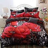FGKLU King Bettwäsche Set 4 teilig, Muster mit Roten Rosen, Mikrofaser Bettwäsche mit Reißverschluss, King (200 * 230 cm), 4 Stück (1 Bettbezüge, 1 Spannbettlaken, 2 Kissenbezug)