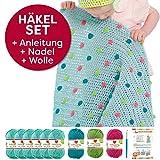 Myboshi Häkel-Set Babydecke mit Pünktchen 64cm x 67cm: 8 x Wolle Lieblingsfarben No.2 + Häkelanleitung + Häkelnadel + selfmade Label Wollfarben (Meerblau / Limettengrün / Magenta / Türkis)