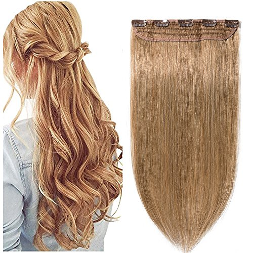 Extension capelli veri clip mèches fascia unica one piece remy human hair lunga 55cm pesa 55g, #27 biondo scuro