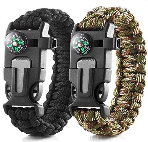 2 Pack Multifunctional Paracord Survival Bracelet, Dierya Outdoor Rope Survival Gear Survival Emergency Bracelet with Compass, Flint Starter and Whistle for Hiking Camping Emergency or Other Outdoor Activities
