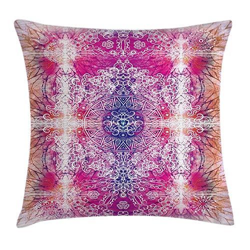 ssen Kissenbezug fern orientalischen Stil traditionellen Mandala Tie-Dye-Stil Farbverlauf Druck harmonische Meditation Thema Dekoration Platz Akzent Kissenbezug rosa,45x45 ()